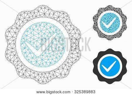 Mesh Valid Seal Model With Triangle Mosaic Icon. Wire Carcass Polygonal Network Of Valid Seal. Vecto