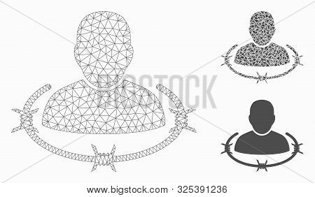 Mesh Captured Man Model With Triangle Mosaic Icon. Wire Frame Triangular Network Of Captured Man. Ve