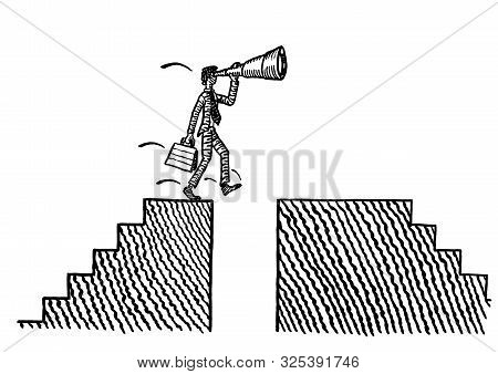 Freehand Pen Drawing Of A Business Man Just About To Stumble And Fall Into A Chasm, Ignorant Of The