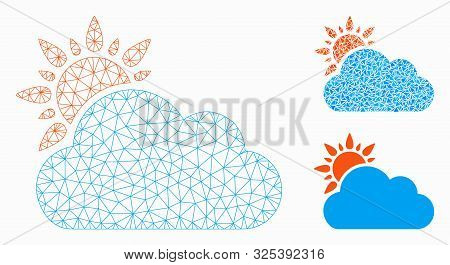 Mesh Cloudy Weather Model With Triangle Mosaic Icon. Wire Frame Polygonal Mesh Of Cloudy Weather. Ve