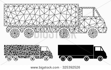 Mesh Wagon Model With Triangle Mosaic Icon. Wire Frame Triangular Mesh Of Wagon. Vector Mosaic Of Tr