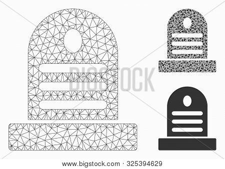 Mesh Tombstone Model With Triangle Mosaic Icon. Wire Frame Triangular Mesh Of Tombstone. Vector Mosa