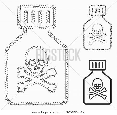 Mesh Toxic Vial Model With Triangle Mosaic Icon. Wire Carcass Triangular Network Of Toxic Vial. Vect
