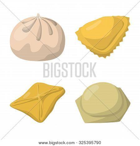 Vector Design Of Dumplings And Food Symbol. Collection Of Dumplings And Stuffed Stock Vector Illustr