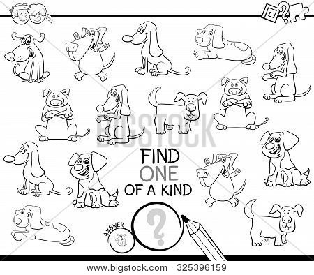 Black And White Cartoon Illustration Of Find One Of A Kind Picture Educational Activity Game For Chi