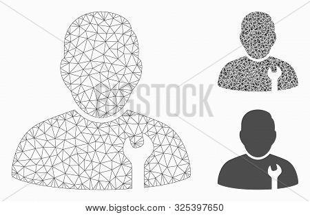 Mesh Serviceman Model With Triangle Mosaic Icon. Wire Frame Triangular Mesh Of Serviceman. Vector Mo