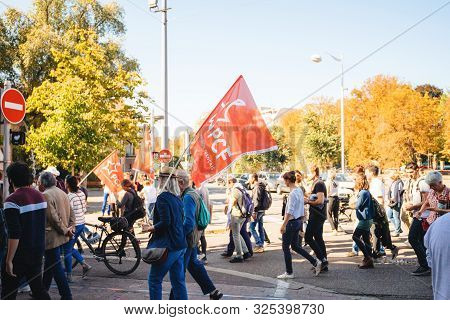 Strasbourg, France - Sep 21, 2019: Man With Pcf French Communist Party Flag At Largest Worldwide Cli