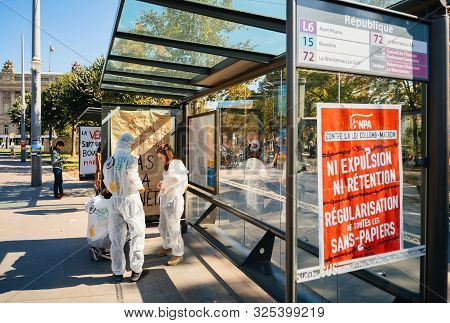 Strasbourg, France - Sep 21, 2019: Against The Collomb-macron Rule On The Npa Banner On Bus Station