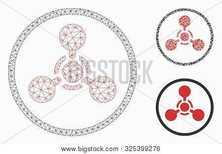 Mesh Wmd Nerve Agent Chemical Warfare Model With Triangle Mosaic Icon. Wire Frame Polygonal Mesh Of