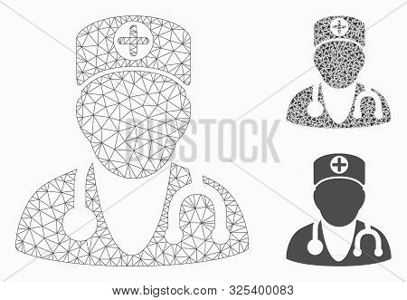 Mesh Physician Model With Triangle Mosaic Icon. Wire Frame Polygonal Mesh Of Physician. Vector Mosai