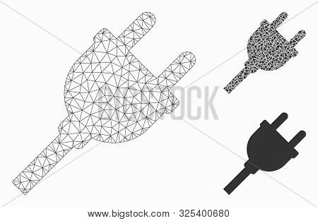 Mesh Electric Plug Model With Triangle Mosaic Icon. Wire Frame Polygonal Mesh Of Electric Plug. Vect