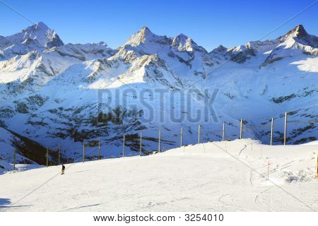 Ski Trail Of Gornergrat, Switzerland
