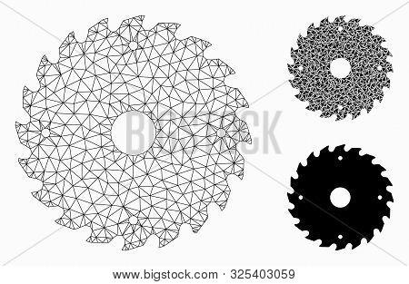 Mesh Circular Saw Blade Model With Triangle Mosaic Icon. Wire Carcass Polygonal Mesh Of Circular Saw
