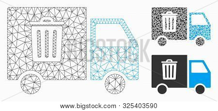 Mesh Rubbish Transport Van Model With Triangle Mosaic Icon. Wire Carcass Triangular Mesh Of Rubbish