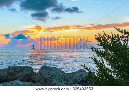 Sunset In The Fort Zachary Taylor Historic State Park. Key West. Florida. Usa
