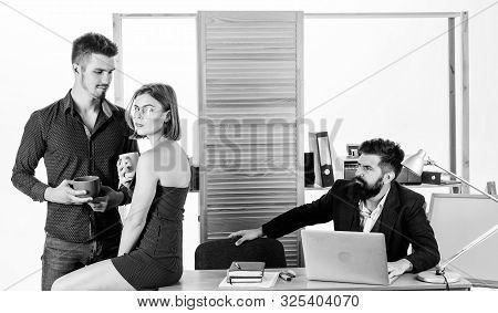 Flirting With Coworker Coffee Break. Woman Flirting With Coworker. Woman Attractive Working Male Col