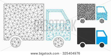 Mesh Shipment Van Model With Triangle Mosaic Icon. Wire Frame Triangular Mesh Of Shipment Van. Vecto