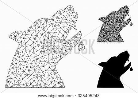 Mesh Werewolf Model With Triangle Mosaic Icon. Wire Frame Triangular Mesh Of Werewolf. Vector Mosaic