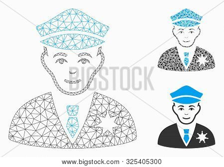 Mesh Sheriff Model With Triangle Mosaic Icon. Wire Frame Polygonal Network Of Sheriff. Vector Mosaic