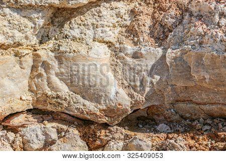 Limestone Quarry, Limestone Rock Closeup. Kaluzhskiy Region, Russia