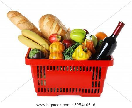 Shopping Basket With Grocery Products On White Background