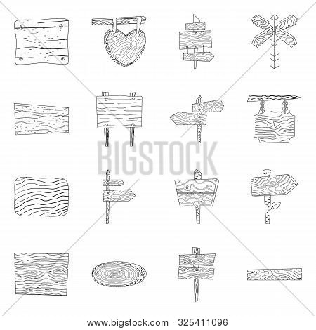 Vector Illustration Of Hardwood And Material Symbol. Collection Of Hardwood And Wood Vector Icon For