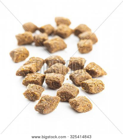 Dry kibble pet food. Kibble for dog or cat isolated on white background. poster