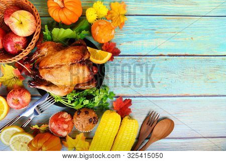 Thanksgiving Dinner With Turkey Vegetable Fruit Served On Holiday Thanksgiving Table Celebration Tra