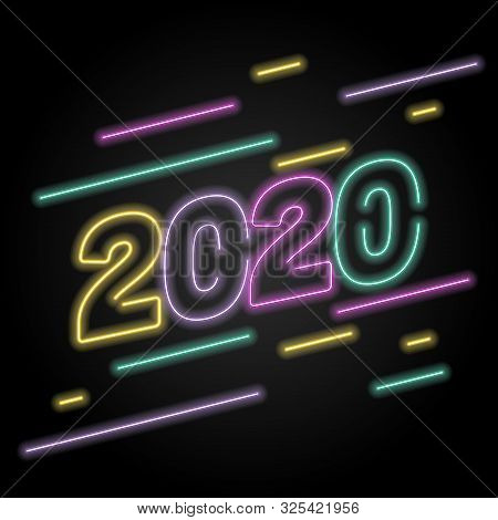2020 Number Neon Glow Effect Isolated On Black Background, 2020 Number For Calendar New Years, Happy