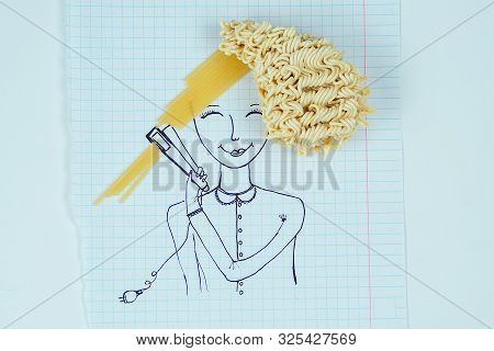 Drawing Portrait Of A Woman Curly Hair Noodles Holding A Hair Straightener Spaghetti Straight Hair .