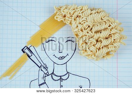 Funny Drawing Portrait Of A Woman Curly Hair Noodles Holding A Hair Straightener Spaghetti Straight