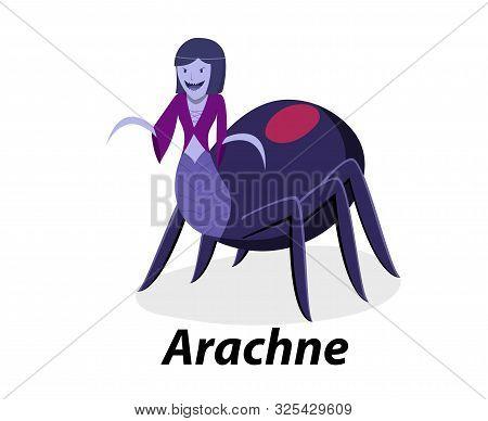 Arachne Isolated On White In Flat Vector Art Design