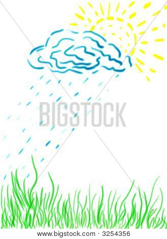Children's painting of a green grass yellow sun and cloud poster