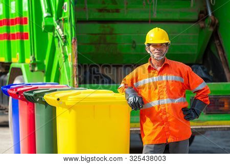 [garbage Collector] Portrait Of Worker Recycling Garbage Collector Truck Loading Waste And Trash Bin