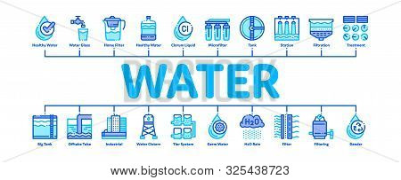 Water Treatment Minimal Infographic Web Banner Vector. Filter And Cleaning System Water Treatment El