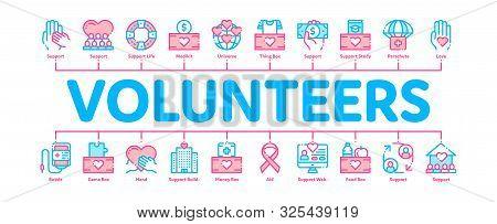 Volunteers Support Minimal Infographic Web Banner Vector. Volunteers Support, Charitable Organizatio