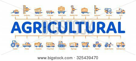 Agricultural Vehicles Minimal Infographic Web Banner Vector. Agricultural Transport, Harvesting Mach