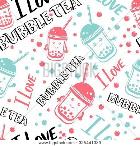 Seamless Pattern Black Tapioca Pearls And Lettering I Love Bubble Tea. Cartoon Vector Illustration O