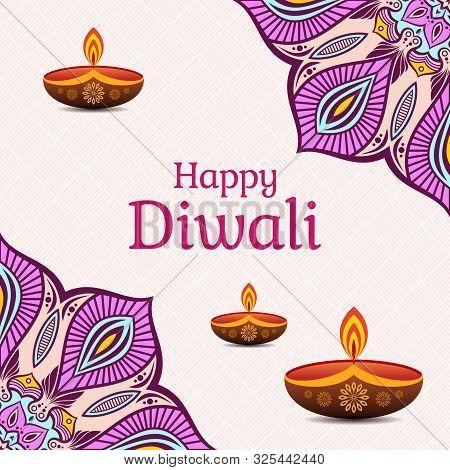 Greeting Card For Diwali Festival With Diwali Elements, Diwali Oil Lamps. Diwali Or Deepavali Celebr