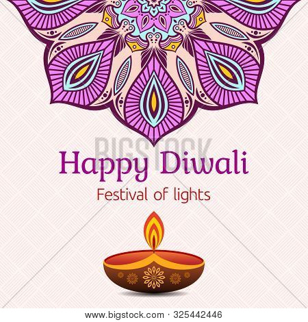 Greeting Card For Diwali Festival With Diwali Oil Lamp And Mandala. Diwali Or Deepavali Celebration