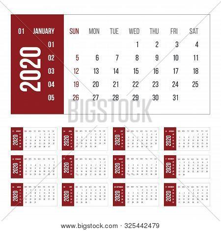 Calendar For 2020 Year Vector Illustration. Basic Grid Colorful Design. Organizer Template In Black