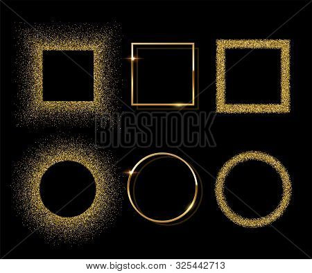 Golden Shiny Round And Square Frames With Shadows Isolated On Black Background. Vector Golden Luxury