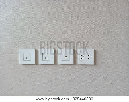Row Of Electric Outlet Set In Home, Apartment, Tv Outlet , Cable Outlet And Electronic Plug, Close U