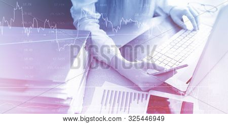 Business woman planning analysing statistics data abstract background. Finance stock market strategy or accounting  money management concept.