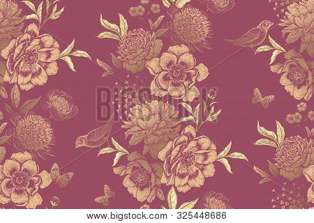 Vintage Floral Seamless Pattern. Garlands Of Garden Flowers, Birds And Butterflies. Beautiful Peonie