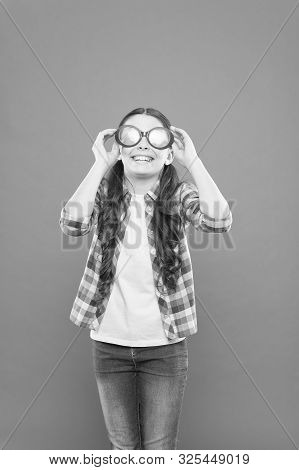 Girl Kid Wear Eyeglasses. Optics And Eyesight Treatment. Effective Exercise Eyes Zooming. Child Happ
