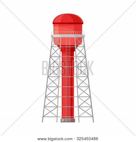 Bright Red Water Reservoir Cylinder Flat Vector Illustration