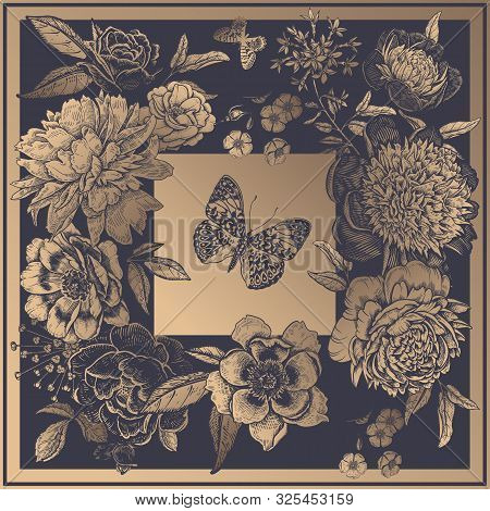 Beautiful Flowers Peonies, Roses And Butterflies. Gold Print On Anthracite Color Background. Vintage