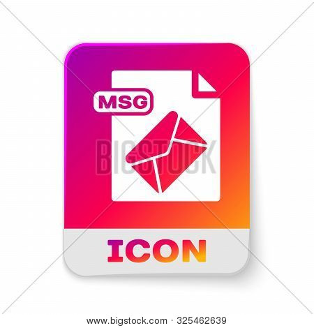White Msg File Document. Download Msg Button Icon Isolated On White Background. Msg File Symbol. Rec