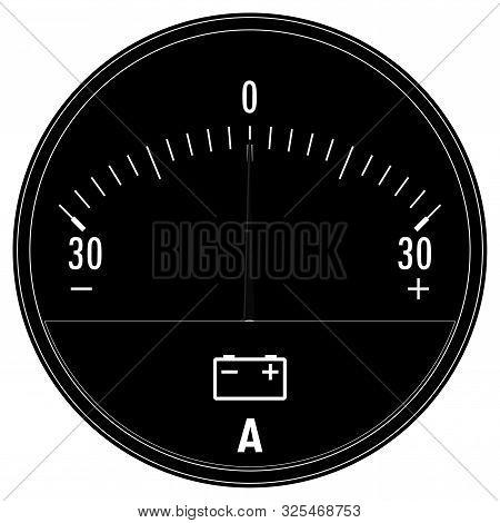 Ampermeter, Car Ammeter. Black Drawing Vector Illustration